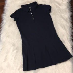 Lands' End Navy Pique cotton polo dress Size 6
